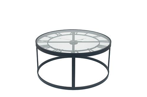 Antique Black Metal Round Clock Table