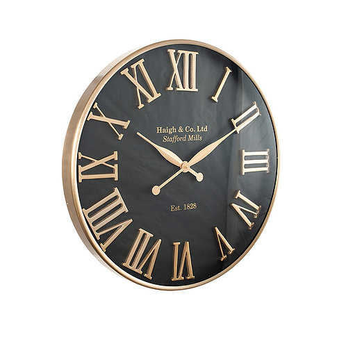 Antique Gold and Black Metal Round Wall Clock