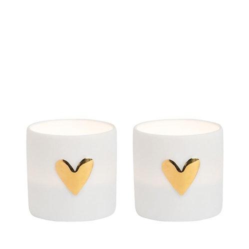 Porcelain set of 2 Love Tea Lights