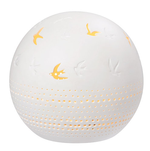 Porcelain LED Light Ball with embossing and openings with bird design