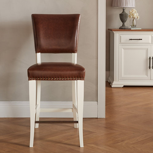 Belgrave Ivory Bar Stool - Rustic Tan Faux Leather (Pair)