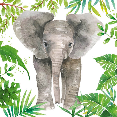 Tropical Elephant Lunch Napkins 33x33 cm