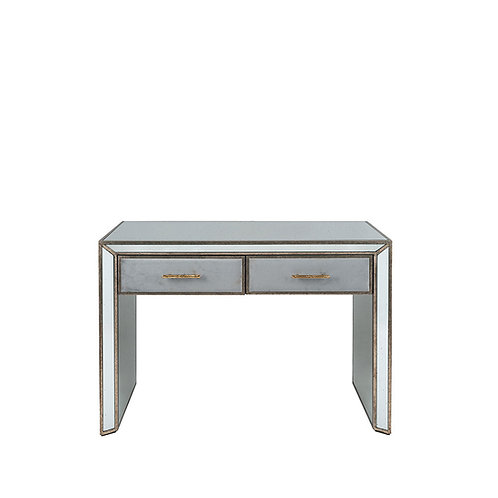 Grey Velvet, Antique Metal and Mirror Console Table