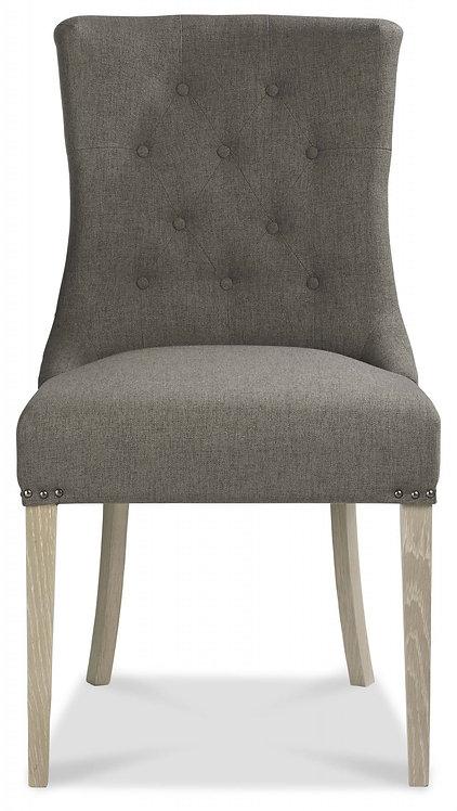 Bordeaux Chalk Oak Upholstered Scoop Chair - Titanium Fabric (Pair)