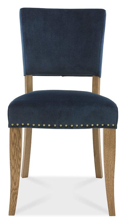 Rustic Oak Upholstered Chair - Dark Blue Velvet Fabric (Pair)