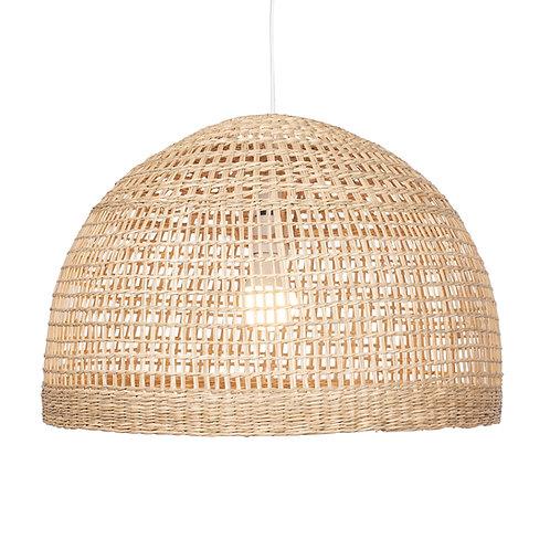 Natural Woven Wide Dome Pendant