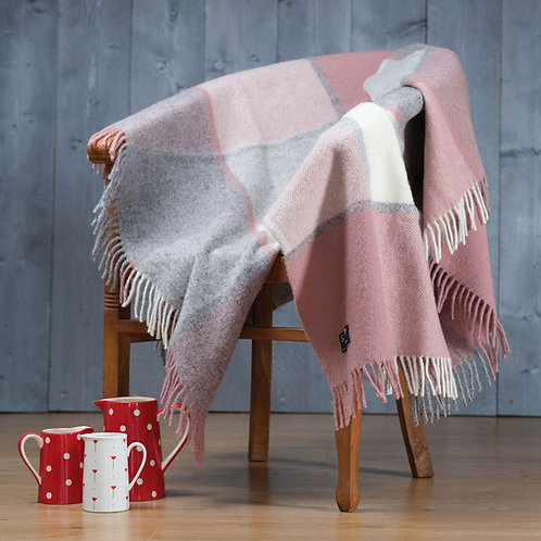 Dusty Pink & Charcoal Block Check Pure New Wool Sand Blanket