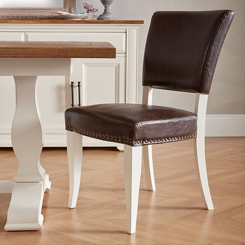 Belgrave Ivory Uph Chair - Rustic Espresso Faux Leather (Pair)