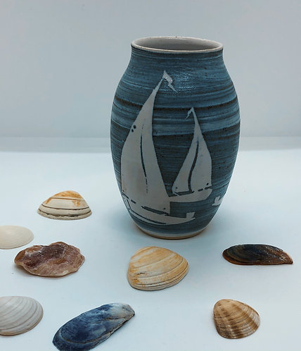 Coastal Hand Crafted Pottery Boat Collection Small Pebble Vase