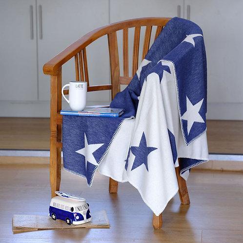 Navy Star Organic Cotton  Blanket with Blanket Stitch