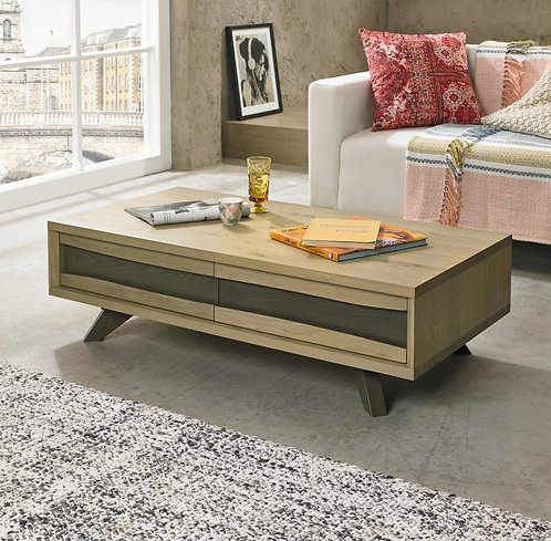 Cadell Aged and Weathered Oak Coffee Table with 2 Drawers