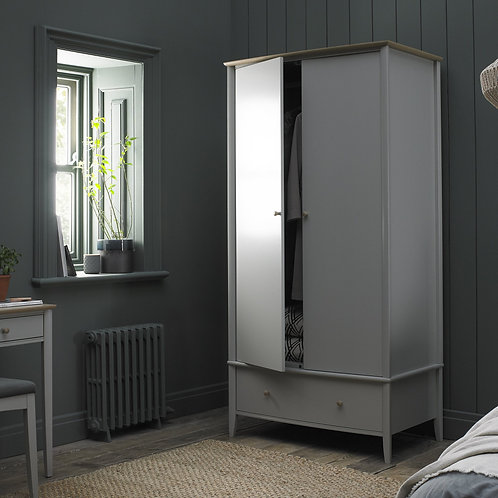 Whitby Scandi Oak & Grey Double Wardrobe