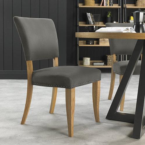 Indus Rustic Oak Upholstered Chair - Dark Grey Fabric (Pair)