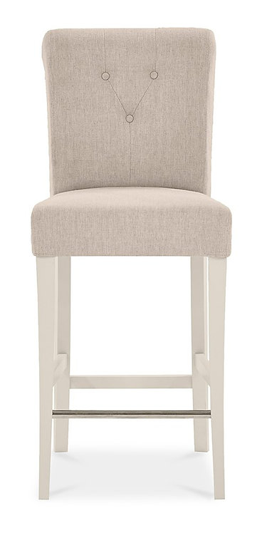 Montreux Antique White Upholstered Bar Stool - Sand Colour Fabric (Pair)