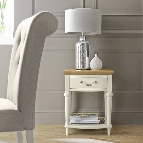 Montreux Pale Oak & Antique White Lamp Table With Drawer