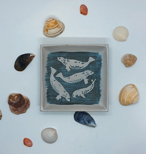 Coastal Hand Crafted Pottery Seal Collection Small Slab Dish