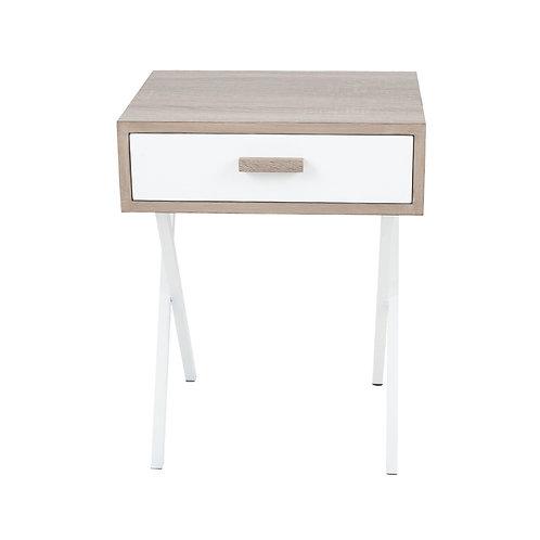 Natural & White Wood Veneer 1 Drawer Table