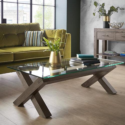 Turin Dark Oak Glass Coffee Table