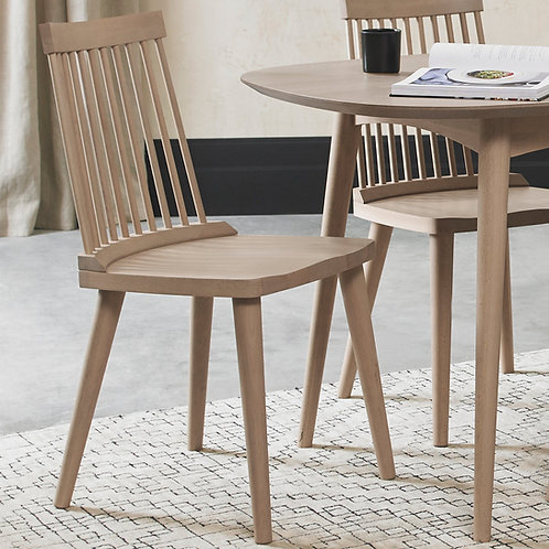 Spindle Chair - Scandi Oak Veneer Back Dining Chair - Cold Steel Fabric (P