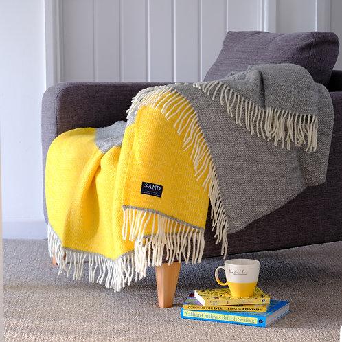 Yellow & Grey Illusion Panel Pure New Wool Sand Blanket