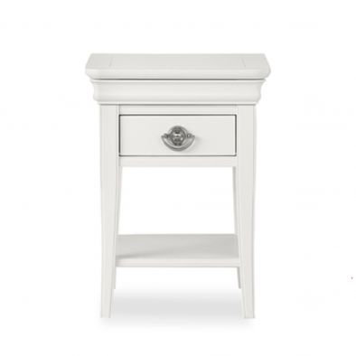 Chantilly White 1 Drawer Bedside Table