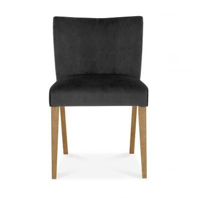 Turin Light Oak Low Back Upholstered Gun Metal Dining Chair (Pair)