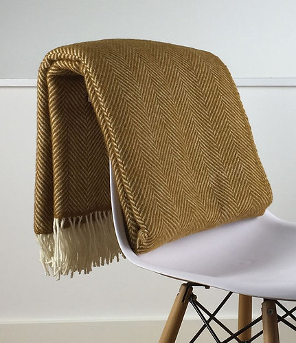 Mustard Yellow Fishbone Pure New Wool Sand Blanket