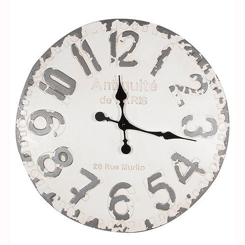 Antique White & Grey Round Wall Clock