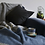 Illusion Panel Pure New Wool tweedmill Blanket Slate Blue & Grey sand cornwall