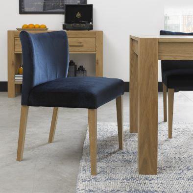 Turin Light Oak Low Back Upholstered Dark Blue Dining Chair (Pair)