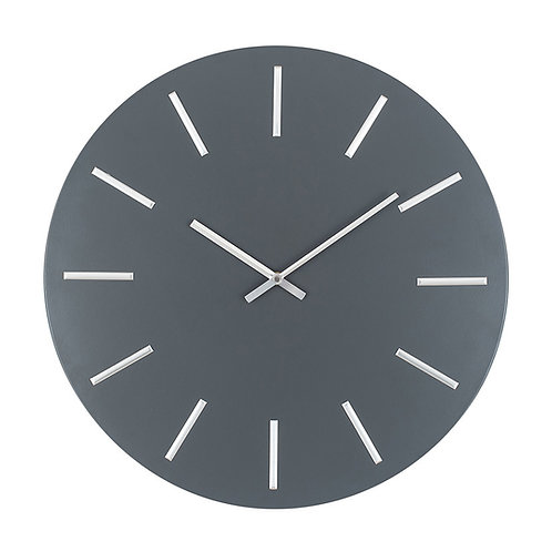 Matt Grey and Silver Detail Round Metal Wall Clock