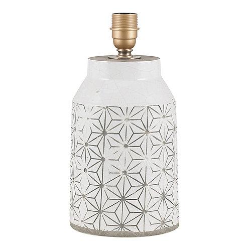 White Etch Detail Stoneware Table Lamp
