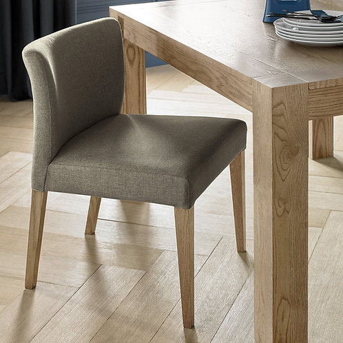 Turin Light Oak Low Back Upholstered Black Gold Dining Chair (Pair)