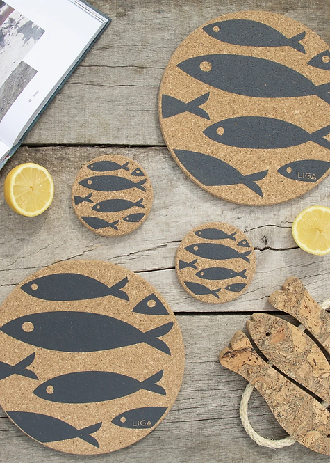 Cork Mats   Fish   Grey