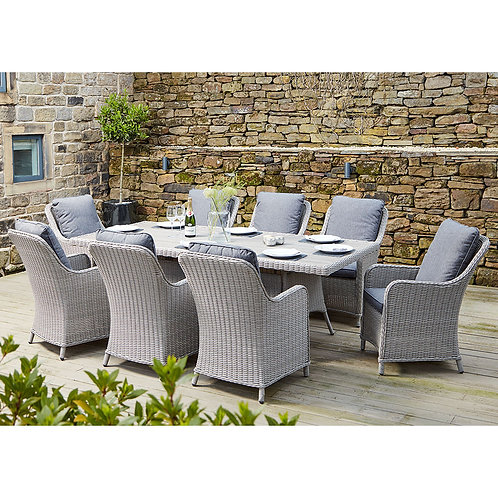 Antigua 8 Seater Oblong Dining Set Stone Grey