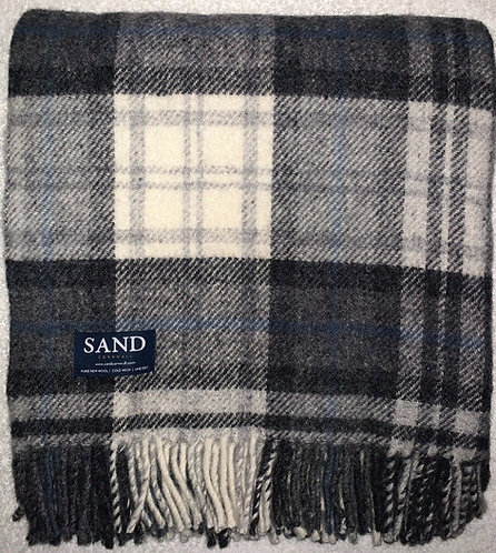 Grey Pebble Cottage Check Pure New Wool Sand Blanket