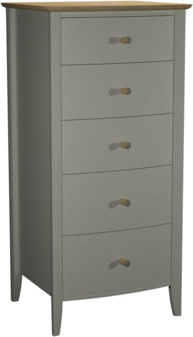 Whitby Scandi Oak and Grey 5 Drawer Chest