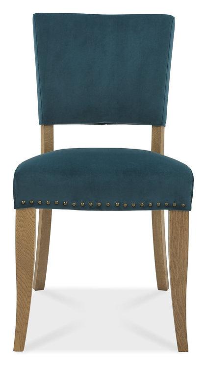 Rustic Oak Upholstered Chair - Sea Green Velvet Fabric (Pair)