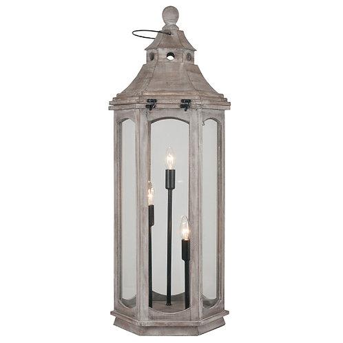 Antique Grey Wood Floor Lamp Lantern