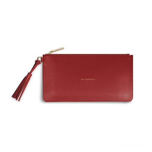 Katie Loxton 'Hey Gorgeous' Florrie Tassel Pouch Ruby Red