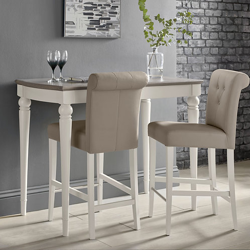 Montreux Soft Grey Upholstered Bar Stool - Grey Bonded Leather (Pair)