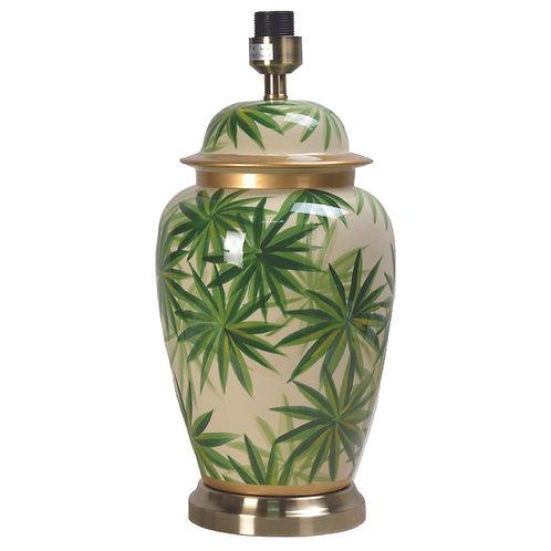 Palm Leaf Design Ceramic Urn Table Lamp