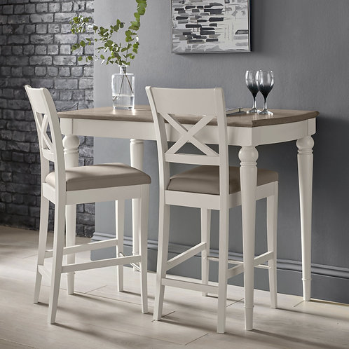 Montreux Soft Grey X Back Bar Stool - Grey Bonded Leather (Pair)