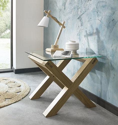 Turin Light Oak Glass Top Lamp Table