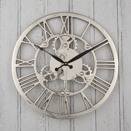 Shiny Nickel Cog Design Wood Round Wall Clock