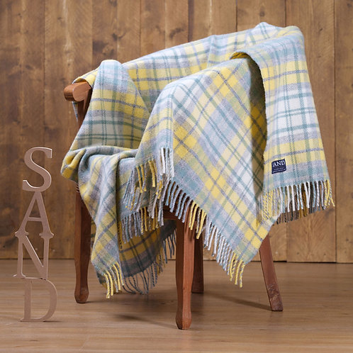 Ocean Cottage Check Pure New Wool Sand Blanket