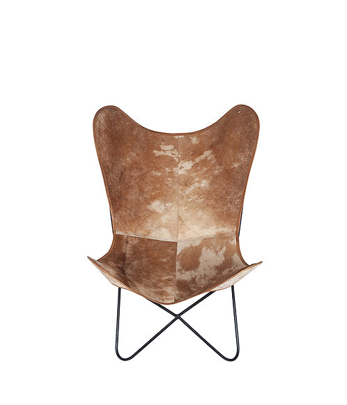 Hide Leather & Iron Butterfly Chair
