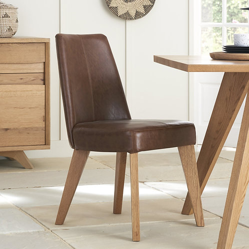 Cadell Rustic Oak Upholstered Chairs-Rustic Tan Faux Leather (Pair)