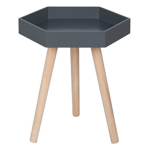 Grey MDF & Natural Pine Wood Hexagon Table