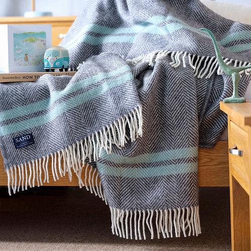 Slate Grey & Ocean Fishbone 2 Stripe Pure New Wool Sand Blanket